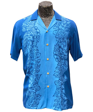 Monstera Panel Blue Hawaiian Shirt
