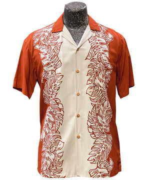 Monstera Panel Rust Hawaiian Shirt