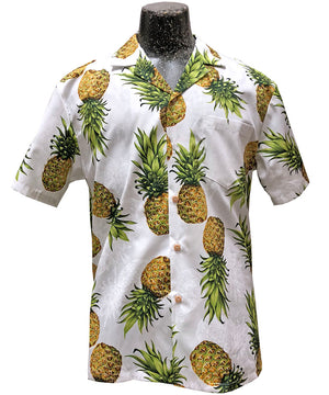 Mr. Pineapple White Hawaiian Shirt
