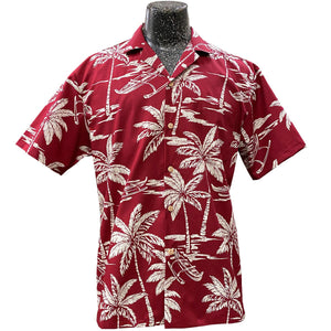 Palm Tree Canoe Red Hawaiian Shirt