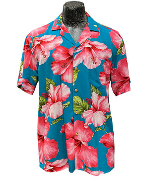 Super Hibiscus Teal Hawaiian Shirt