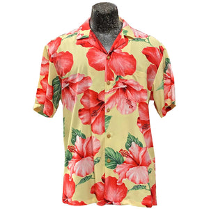 Super Hibiscus Yellow Hawaiian Shirt