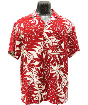 Tahitian Garden Red Hawaiian Shirt