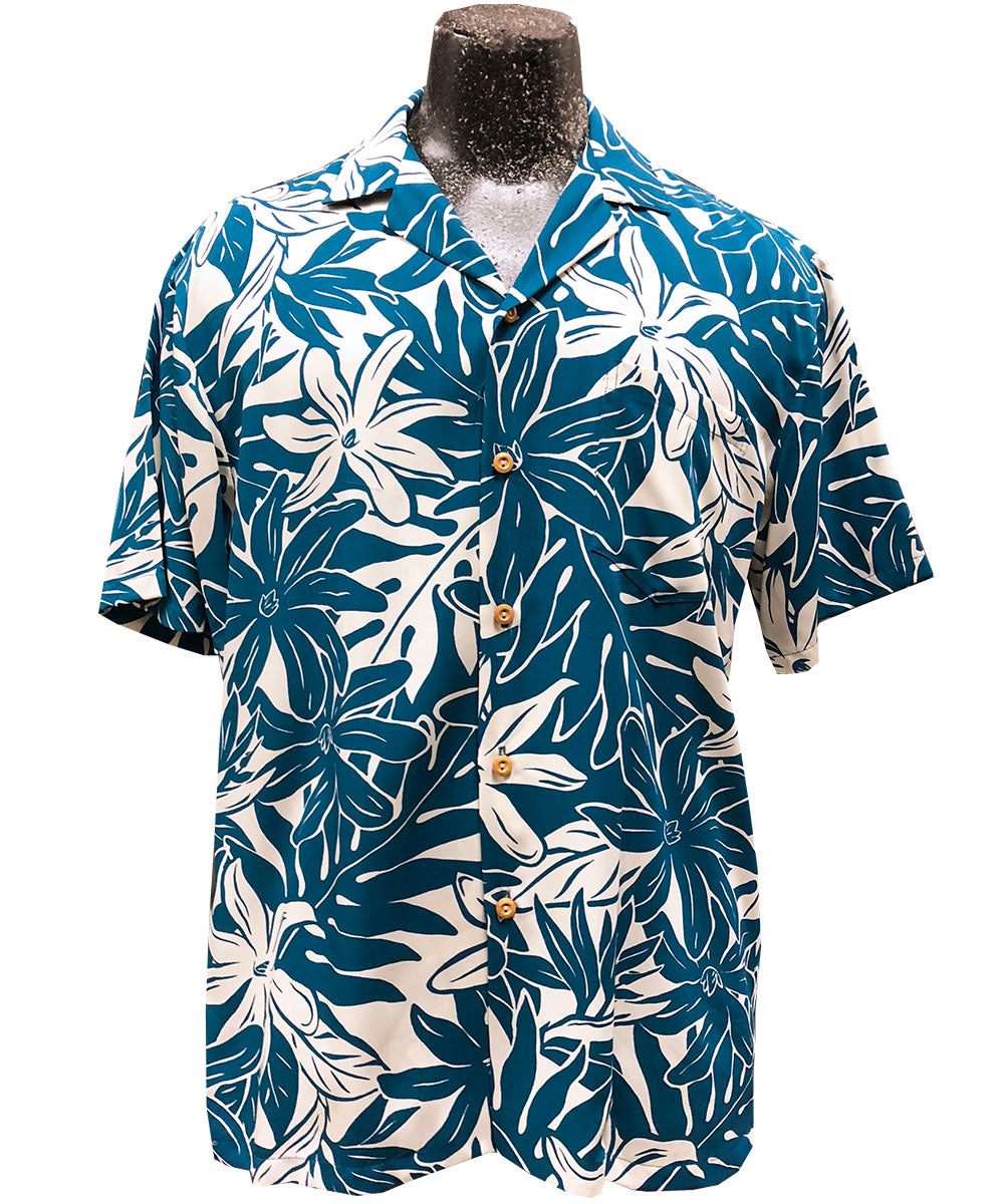 Tahitian Garden Teal Hawaiian Shirt