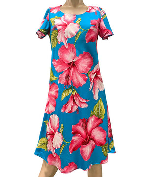 Super Hibiscus Teal A-Line Dress with Cap Sleeves