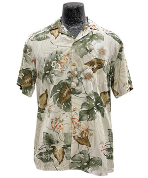 Orchids and Monstera Beige Hawaiian Shirt