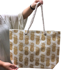 Large Pineapple Handbag with Braided Handles (White)