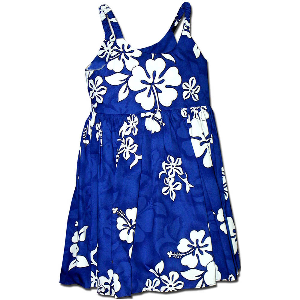 White Flower Blue Girl's Bungee Dress