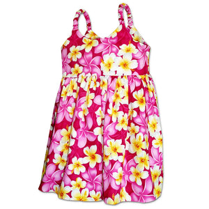 Plumeria Time Pink Girl's Bungee Dress