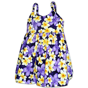 Plumeria Time Purple Girl's Bungee Dress