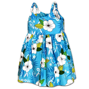 Happy Hibiscus Blue Girl's Bungee Dress