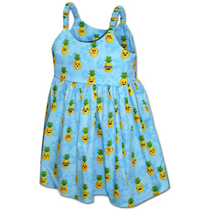 Happy Pineapples Blue Girl's Bungee Dress