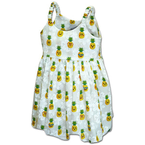 Happy Pineapples White Girl's Bungee Dress