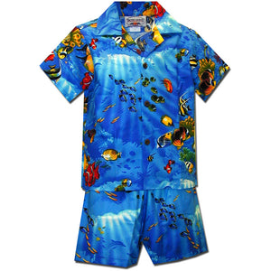 Fishy Time Blue Boy's Hawaiian Shirt and Shorts