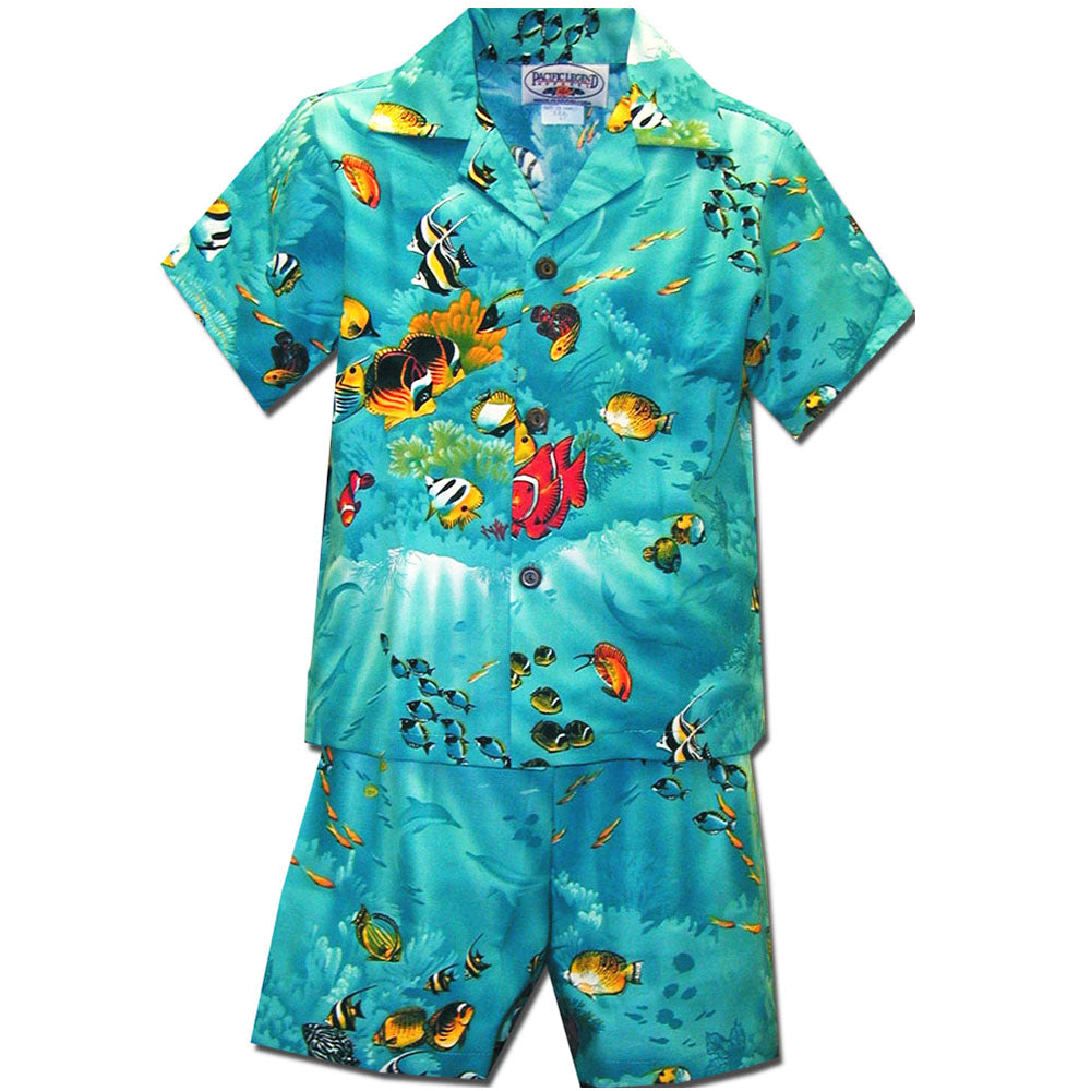 Fishy Time Turquoise Boy's Hawaiian Shirt and Shorts