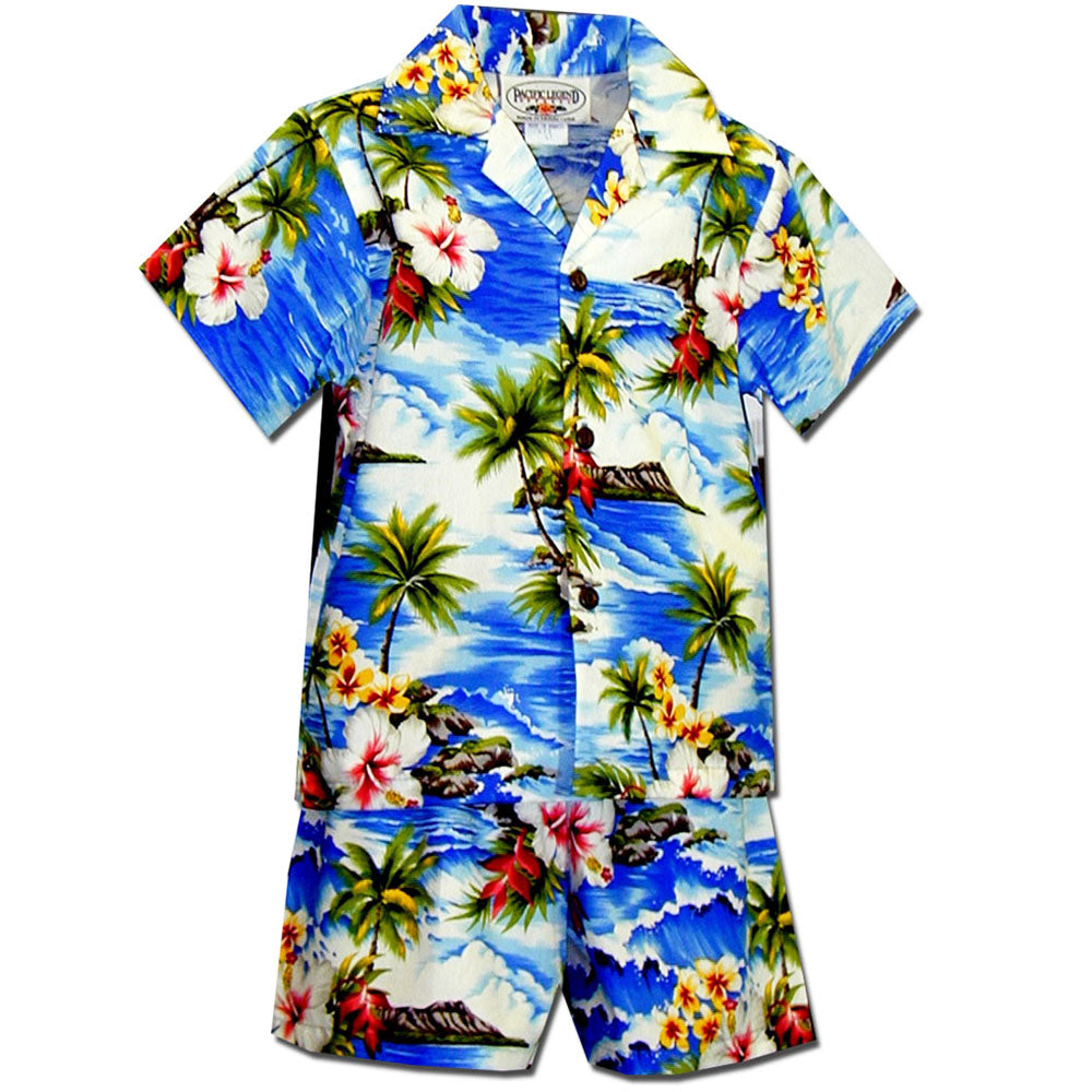Diamond Head Beach Blue Boy's Hawaiian Shirt and Shorts