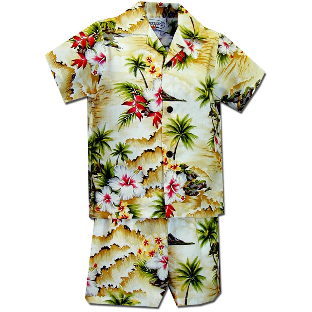 Diamond Head Beach Maize Boy's Hawaiian Shirt and Shorts