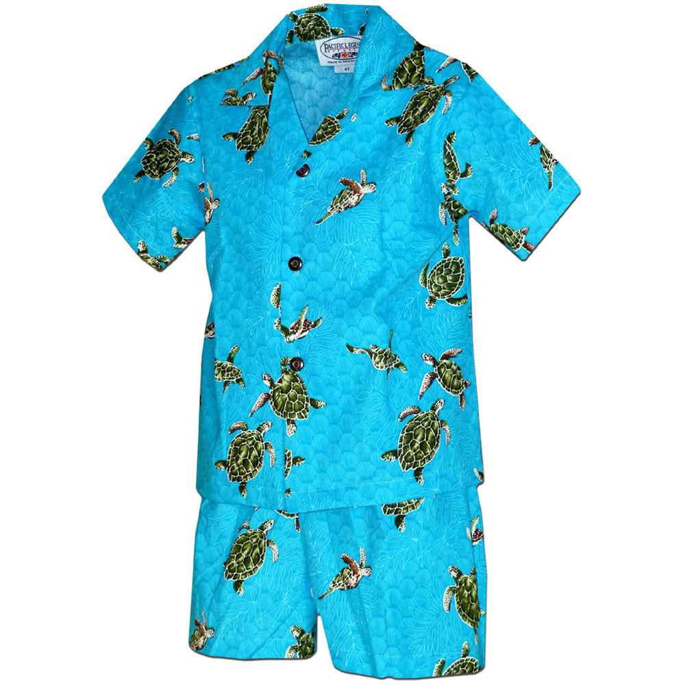 Turtle Time Turquoise Boy's Hawaiian Shirt and Shorts