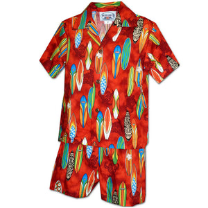 Surfboard Dream Red Boy's Hawaiian Shirt and Shorts