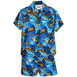 Turtle Reef Blue Boy's Hawaiian Shirt and Shorts