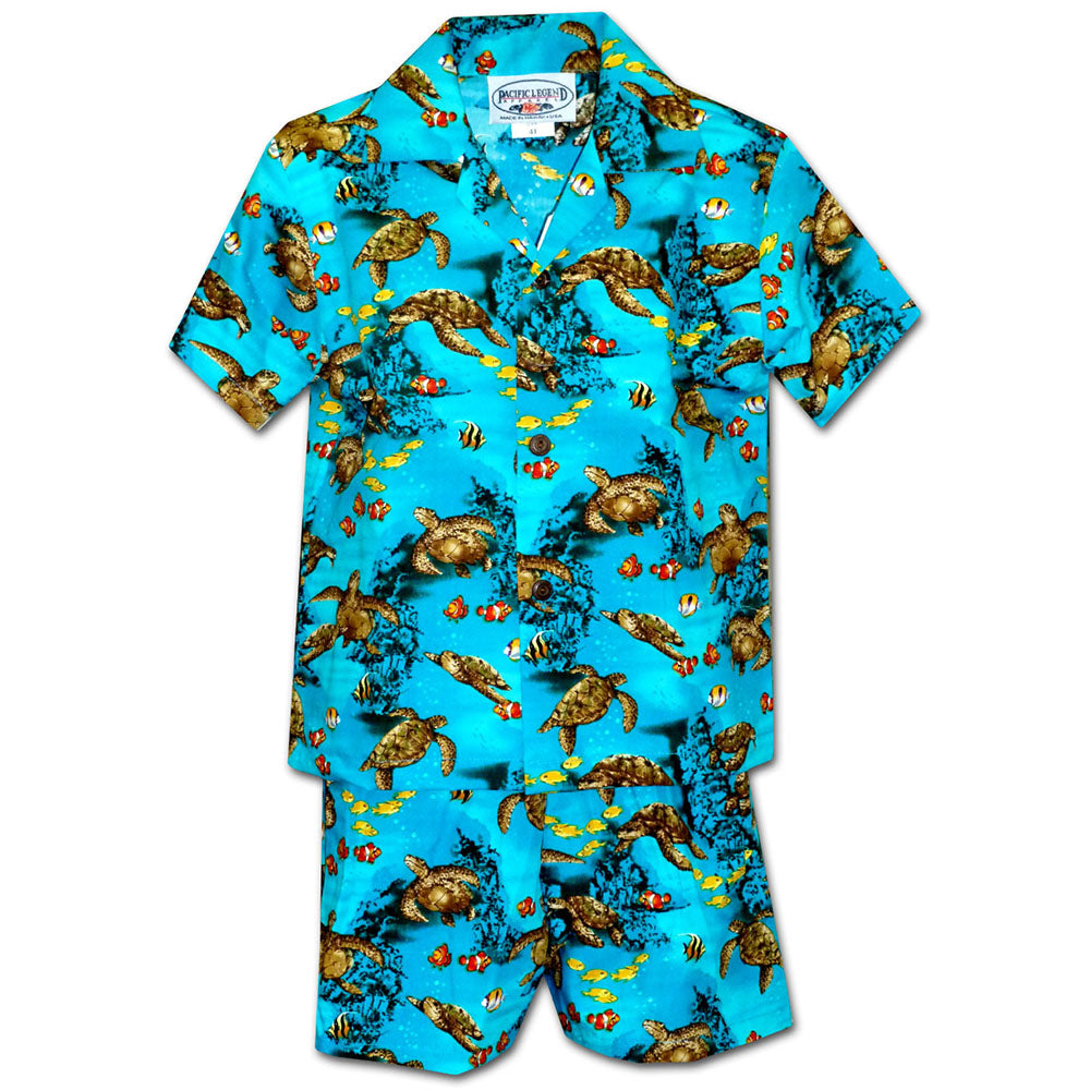 Turtle Reef Turquoise Boy's Hawaiian Shirt and Shorts