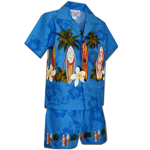 Standing Surfboards Blue Boy's Hawaiian Shirt and Shorts