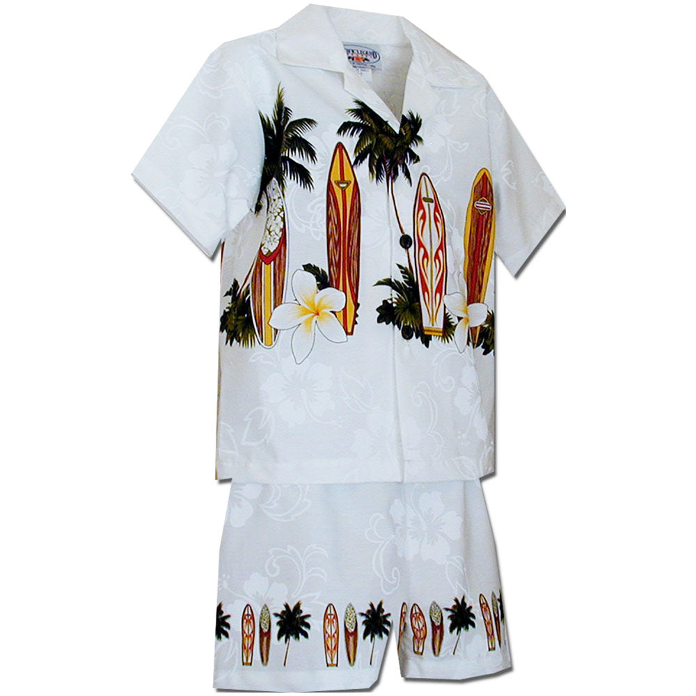 Standing Surfboards White Boy's Hawaiian Shirt and Shorts