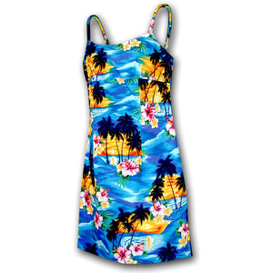 Diamond Head Sunset Blue Short Spaghetti Dress