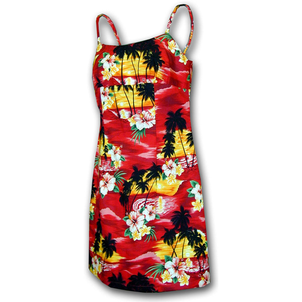 Diamond Head Sunset Red Short Spaghetti Dress