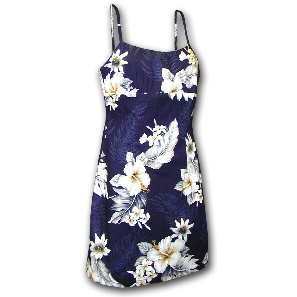 Floral Garden Navy Short Spaghetti Dress