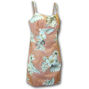 Floral Garden Peach Short Spaghetti Dress
