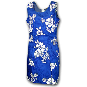 White Flower Blue Short Tank Dress