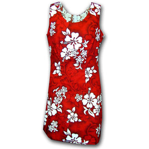 White Flower Red Short Tank Dress