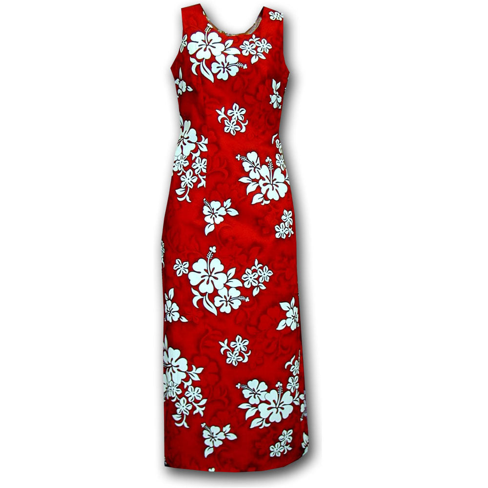 White Flower Red Long Tank Dress