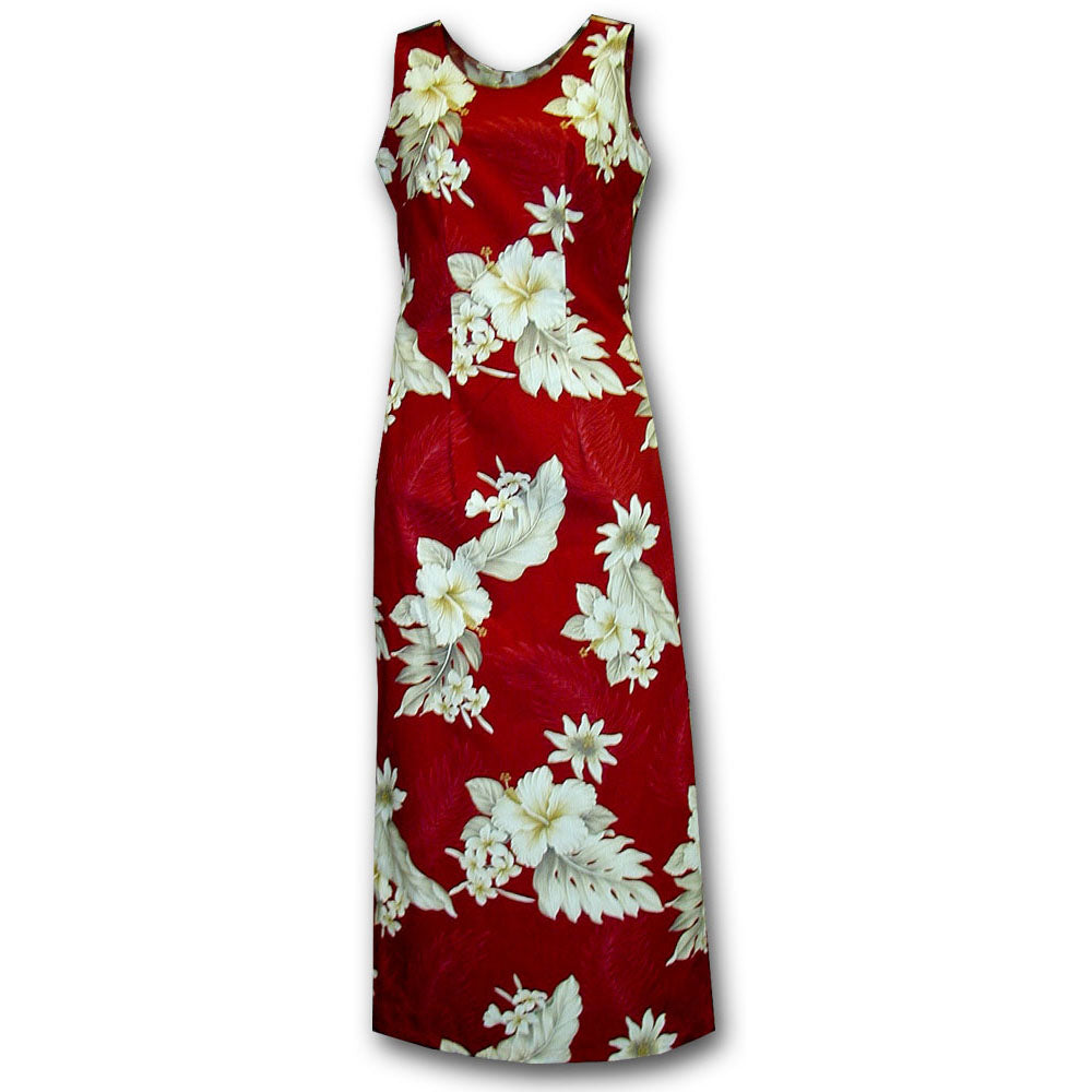 Floral Garden Red Long Tank Dress