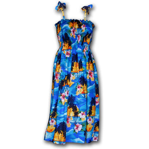 Diamond Head Sunset Blue Spaghetti Tube Dress