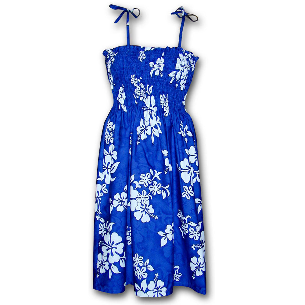 White Flower Blue Spaghetti Tube Dress