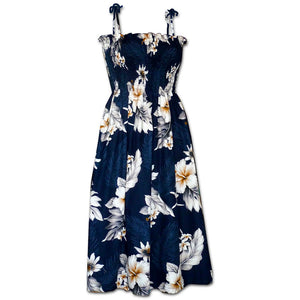 Floral Garden Navy Spaghetti Tube Dress