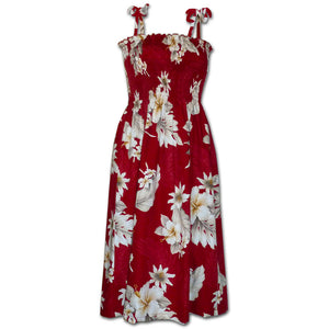 Floral Garden Red Spaghetti Tube Dress