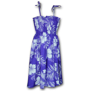 Big Hibiscus Purple Spaghetti Tube Dress