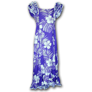 Big Hibiscus Purple Ruffle Shoulder Muumuu