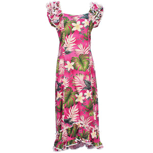 Ms Monstera Pink Ruffle Shoulder Muumuu