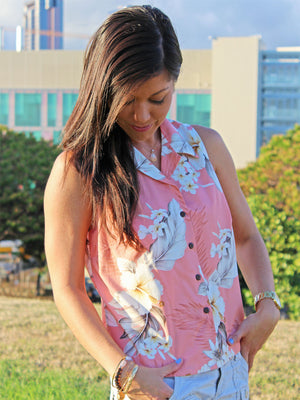 Floral Garden Peach Sleeveless Women's Hawaiian Shirt