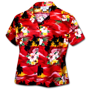 Sunset Waikiki Red Fitted Women's Hawaiian Shirt