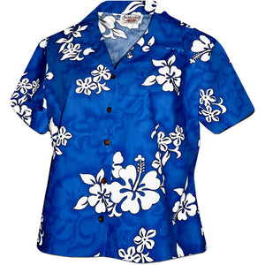 White Flower Blue Fitted Women's Hawaiian Shirt