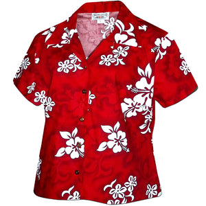 White Flower Red Fitted Women's Hawaiian Shirt