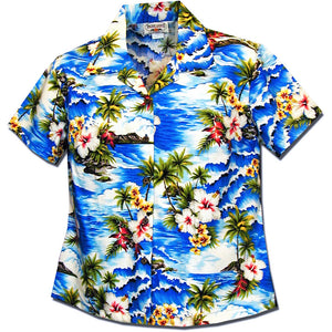 Diamond Head Beach Blue Women's Fitted Hawaiian Shirt