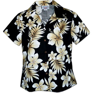 Tropic Fever Black Fitted Women's Hawaiian Shirt