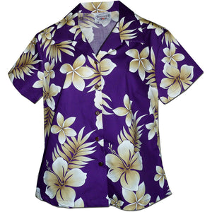 Tropic Fever Purple Fitted Women's Hawaiian Shirt
