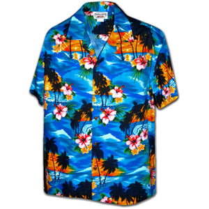 Diamond Head Sunset Blue Hawaiian Shirt